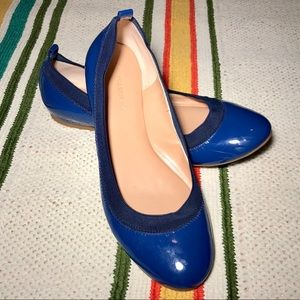 Banana Republic Womens 9M Patent Leather Flat Blue
